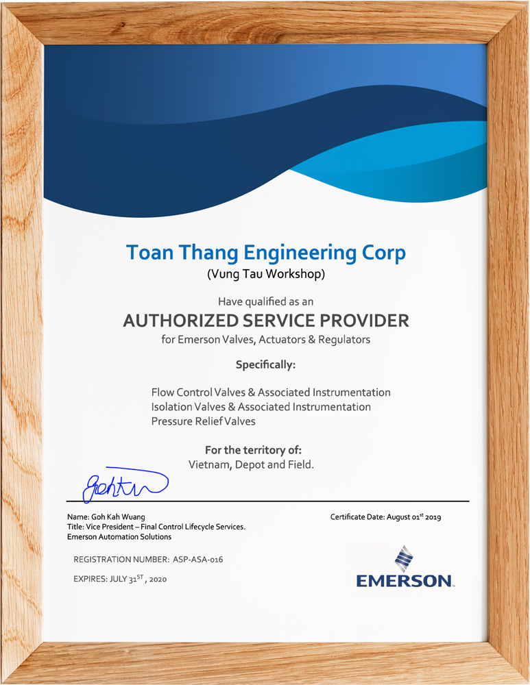 ASP CERTIFICATE From EMERSON