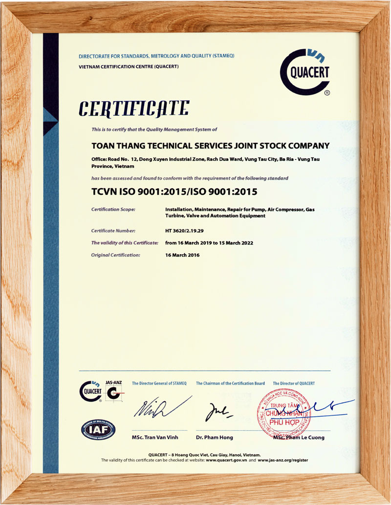 TTS Certificate 9001:2005